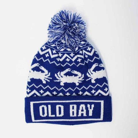 Old Bay Brim & Chevron Crab (Blue with Multi-Pom) / Knit Beanie Cap