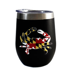 *PRE-ORDER* Maryland Full Flag Crab (Black) / Stemless Wine Tumbler (Estimated Ship Date: 4/20)