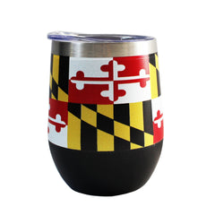 *PRE-ORDER* Maryland Flag (Black) / Stemless Wine Tumbler (Estimated Ship Date: 4/20)