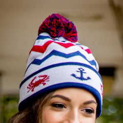 Chevron Crab and Anchor Design (White with Multi Pom) / Knit Beanie Cap - Route One Apparel