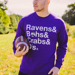 Ravens & Bohs & Crabs & O's Helvetica *With Natty Boh Logo* (Purple) / Long Sleeve Shirt