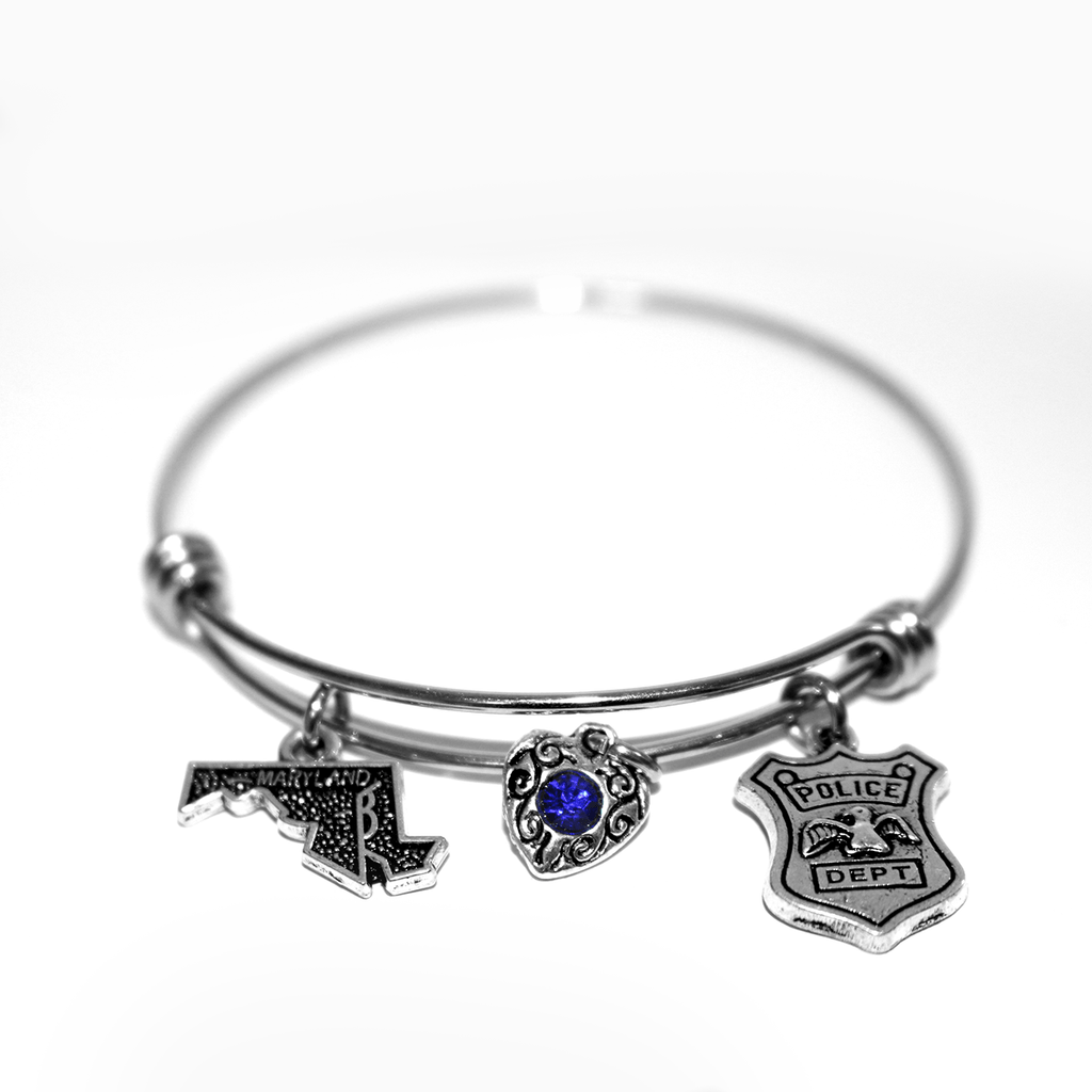 Maryland Police (Silver) / Adjustable Bangle Bracelet
