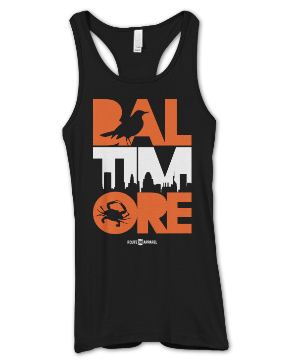 Baltimore Icon Orange & White (Black) / Ladies Ribbed Tank - Route One Apparel