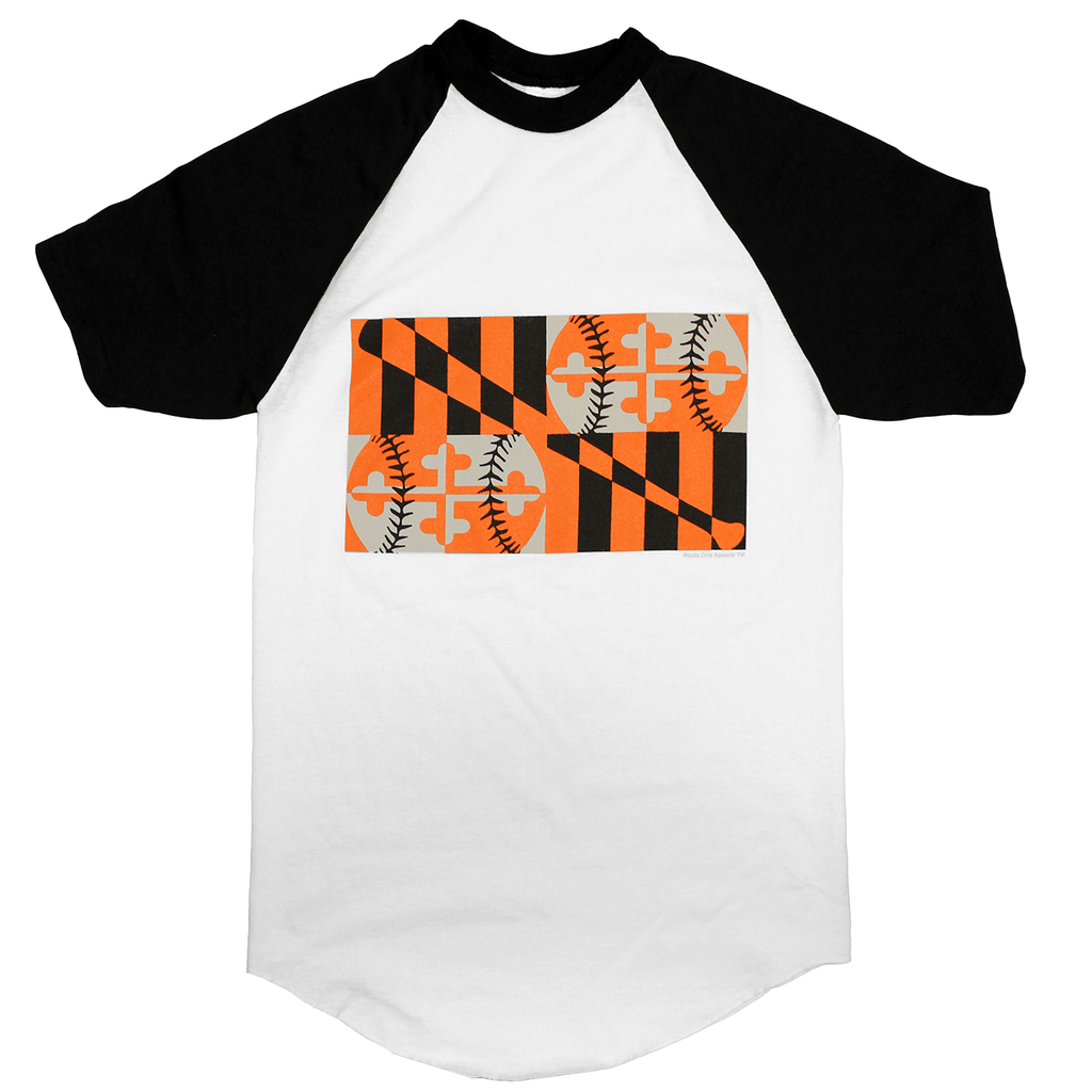 Baltimore Maryland Baseball Flag (Black/White) / Jersey Shirt - Route One Apparel