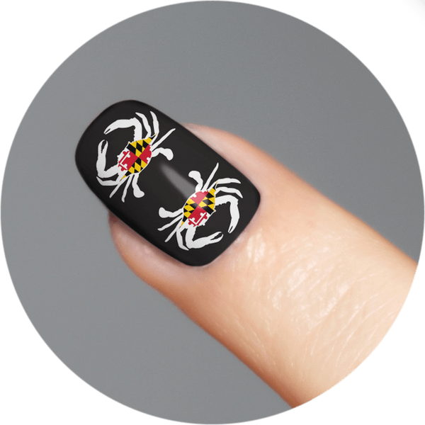 Maryland Flag Crab (Black) / Nail Tattoo (18 Set)