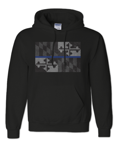 Maryland Flag Blue Line (Black) / Hoodie