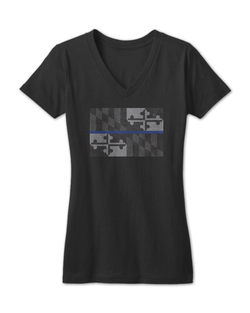 Maryland Flag Blue Line (Black) / Ladies Sporty V-Neck Shirt