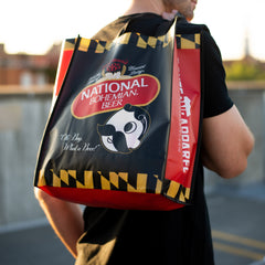 National Bohemian Logo w/ Calvert Stripes (Black & Red) / Reusable Shopping Bag