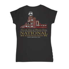 Brewer's Hill - National Bohemian Beer (Black) / Ladies V-Neck Shirt - Route One Apparel