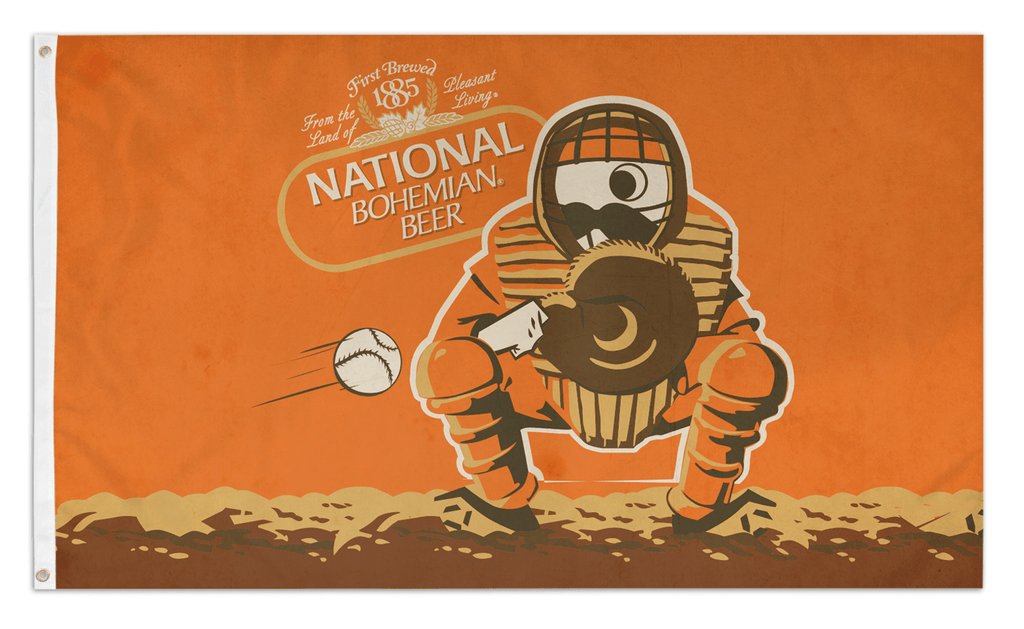 Natty Boh Baseball Catcher (Orange) / Flag