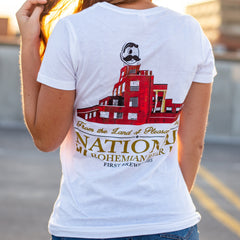 Brewer's Hill - National Bohemian Beer (White) / Ladies V-Neck Shirt - Route One Apparel