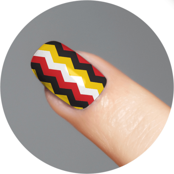Chevron (Red, White, Yellow & Black) / Nail Tattoo (18 Set)