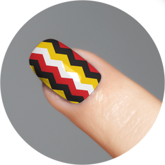 Chevron (Red, White, Yellow & Black) / Nail Tattoo (18 Set) - Route One Apparel