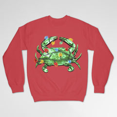 Christmas Lights Crab (Red) / Crew Sweatshirt - Route One Apparel