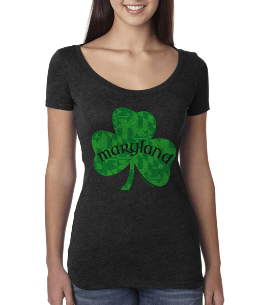 Maryland Shamrock (Vintage Black) / Ladies Scoop Neck Shirt