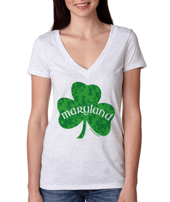 Maryland Shamrock (Heather White) / Ladies Deep V-Neck Shirt