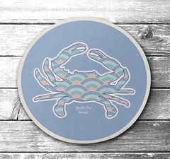 Wave Crab (Pastel Lavender) / Cork Coaster