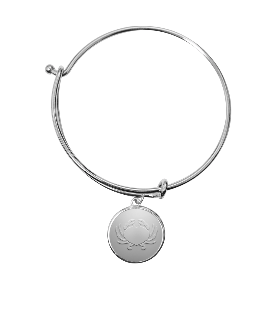 Maryland Crab Heart (Silver) / Adjustable Bangle Bracelet