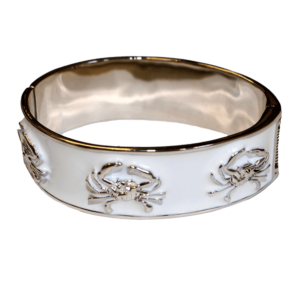 Enamel Crab (White/Silver) / Bangle Bracelet