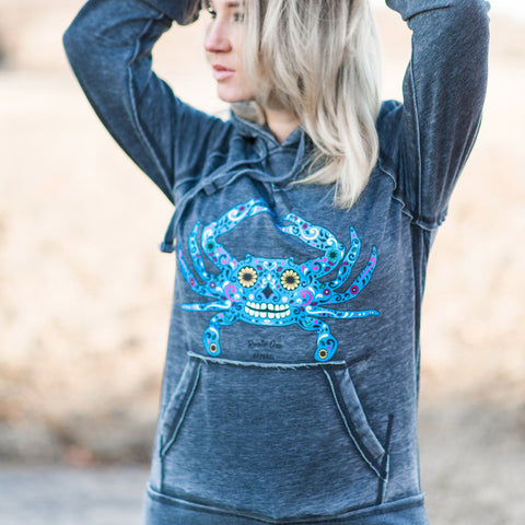 Sugar Skull Crab (Dark Smoke) / Ladies Hoodie
