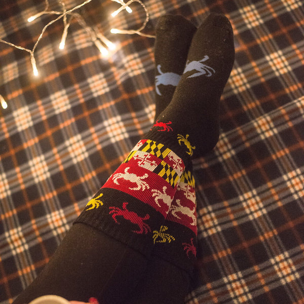 Maryland Crazy Crab and Flag (Black) / Crew Socks