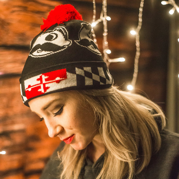 Boh Logo w/ Maryland Flag Brim (Black w/ Red Pom) / Knit Beanie Cap