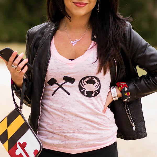 Crabby XO (Pink) / Ladies Deep V-Neck Shirt - Route One Apparel