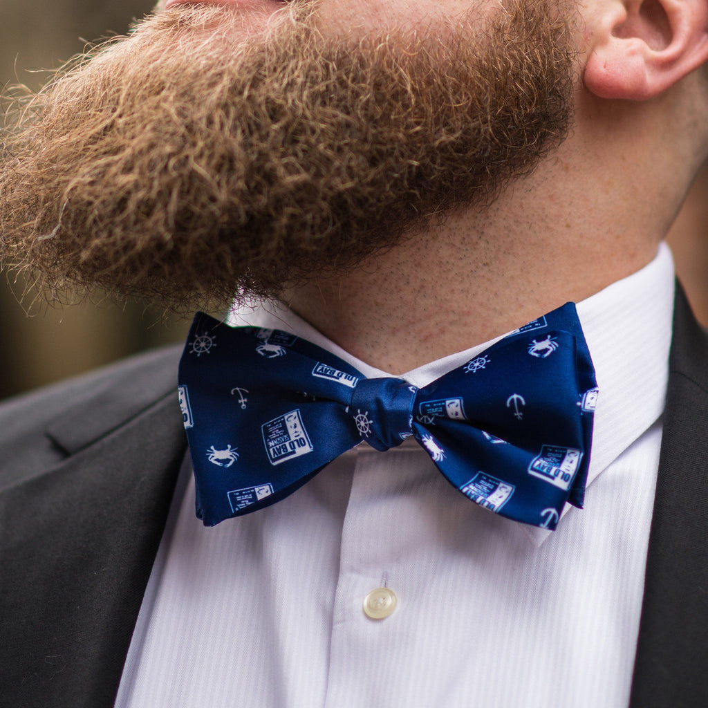 Nautical Crab, Anchor and Old Bay (Navy) / Self-Tie Bow Tie