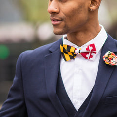 Calvert & Crosslands Sides Maryland Flag / Pre-Tied Bowtie - Route One Apparel