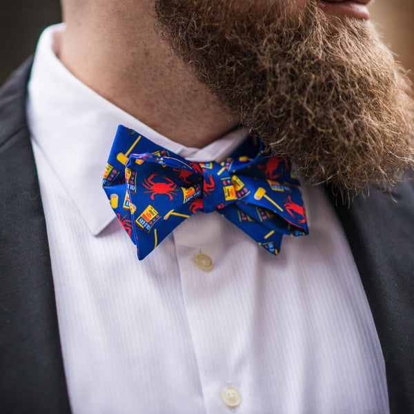 Crab, Mallet & Old Bay (Royal) / Self-Tie Bow Tie - Route One Apparel