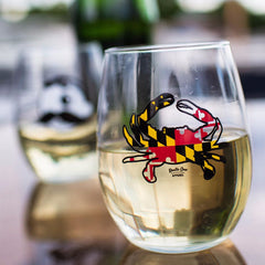 Maryland Full Flag Crab / Stemless Wine Glass