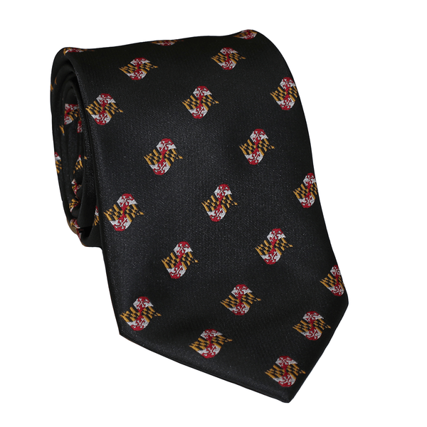 Embroidered Waving Maryland Flag (Black) / Tie