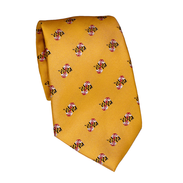 Embroidered Waving Maryland Flag (Gold) / Tie