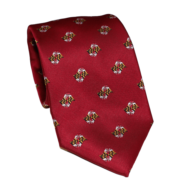 Embroidered Waving Maryland Flag (Red) / Tie