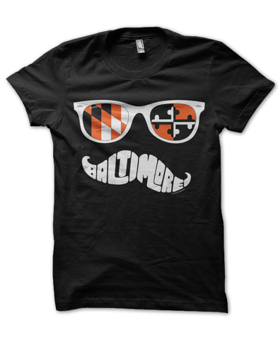 Black & Orange Maryland Mustache (Black) / Shirt - Route One Apparel