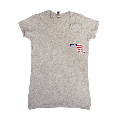 Land of the Free State (Grey) / Ladies V-Neck Shirt