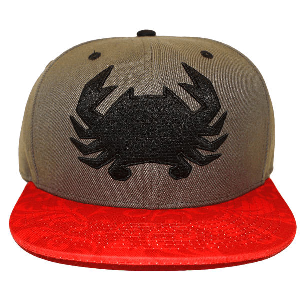 Geo Crab with Red Floral Brim (Grey) / Canvas Snapback Hat
