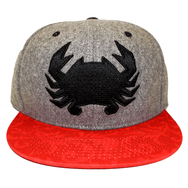 Geo Crab with Red Floral Brim (Grey) / Wool Snapback Hat