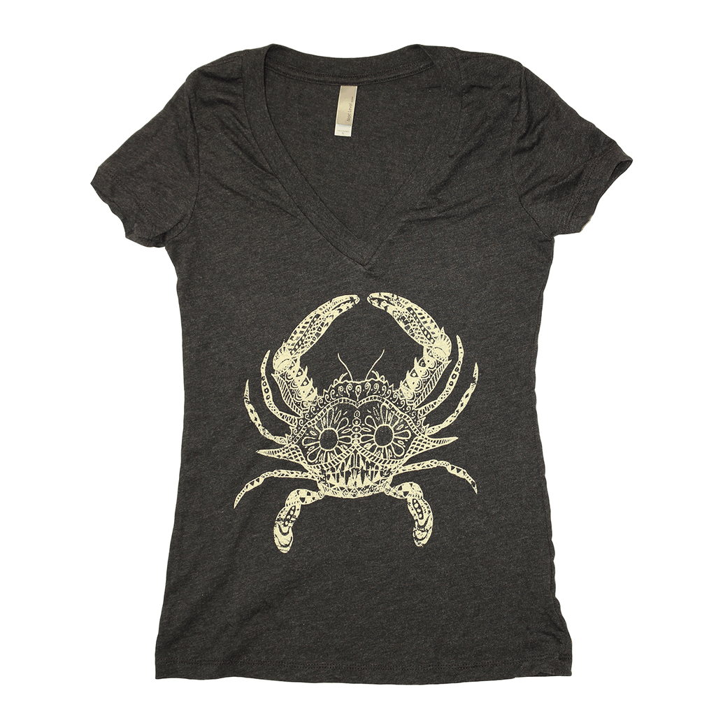 Henna Crab (Charcoal Grey) / Ladies V-Neck Shirt
