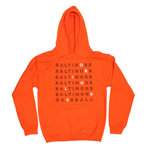 Baltimore Baseball Text (Orange) / Hoodie - Route One Apparel