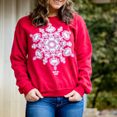 Crab Snowflake (Heather Red) / Crew Sweatshirt - Route One Apparel