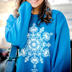 Crab Snowflake (Arctic Blue) / Crew Sweatshirt - Route One Apparel