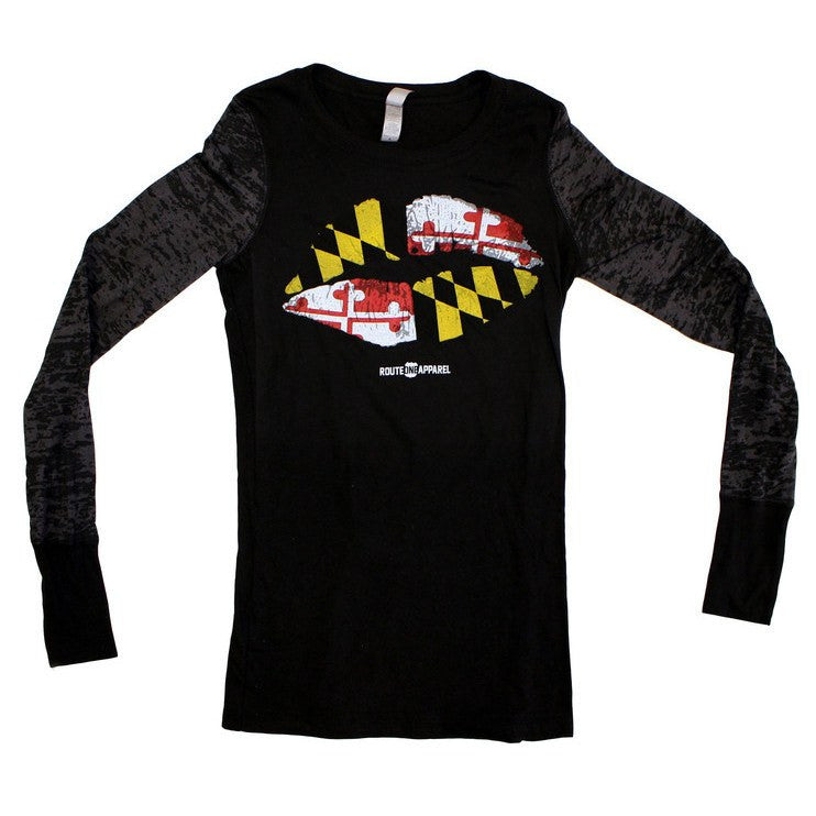 Maryland Kiss (Black) / Ladies Burnout Long Sleeve Shirt
