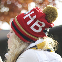 Boh Logo Text (Red w/ Gold Pom) / Knit Beanie Cap - Route One Apparel