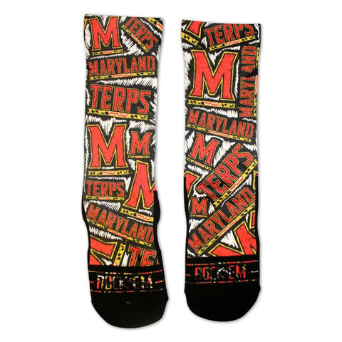 University of Maryland Logo White Sketch (Black) / Crew Socks