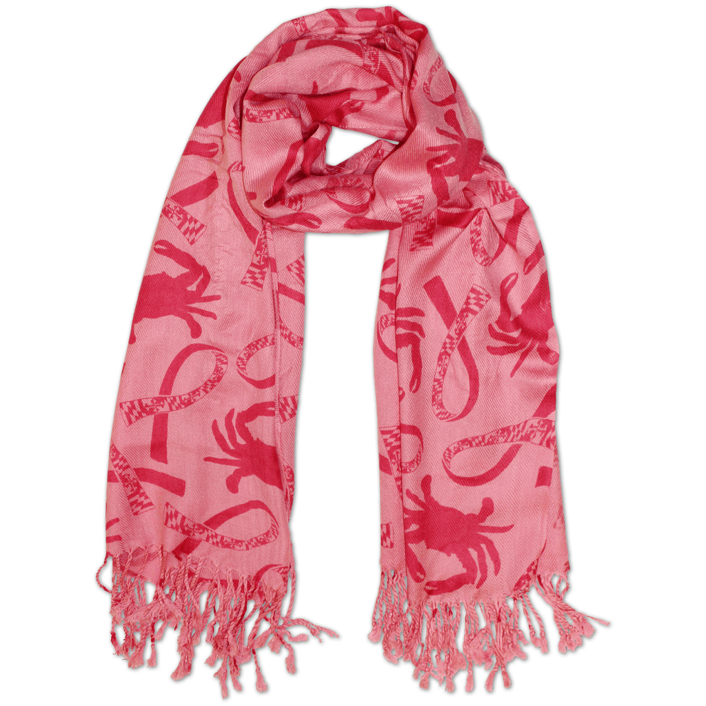 Crab and Maryland Flag Ribbon (Pink) / Scarf - Route One Apparel