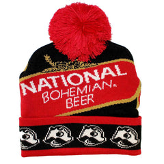 National Bohemian Beer w/ Boh Brim (Black w/ Red Pom) / Knit Beanie Cap