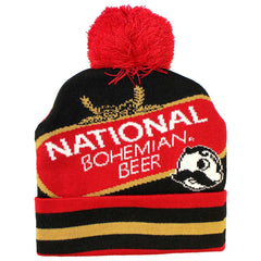 National Bohemian Beer w/ Red & Gold Stripes (Black w/ Red Pom) / Knit Beanie Cap
