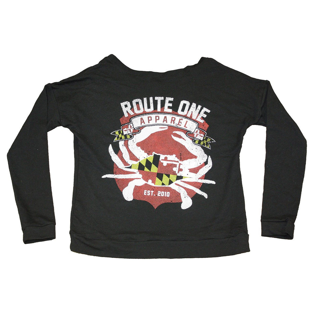 Route One Apparel Classic Flag & Crab (Black) / Ladies Long-Sleeve Scoop Shirt