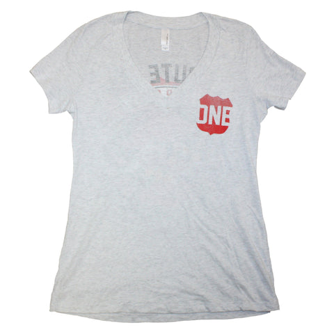 Route One Apparel Classic Flag & Crab (Heather White) / Ladies Deep V-Neck Shirt